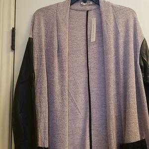 Mustard Seed Sweaters - Mustard seed open long sweater faux leather sleeve